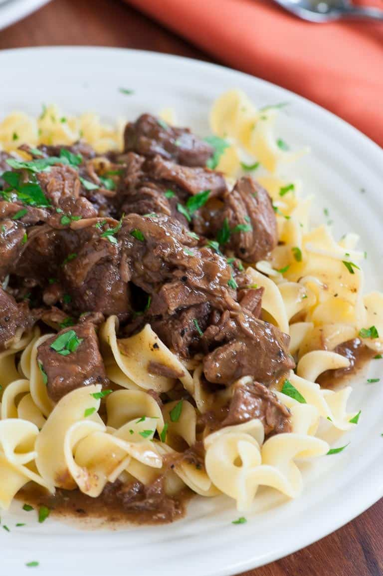 Succulent beef tips gravy on egg noodles
