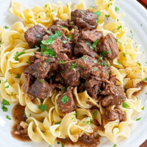 beef on egg noodles