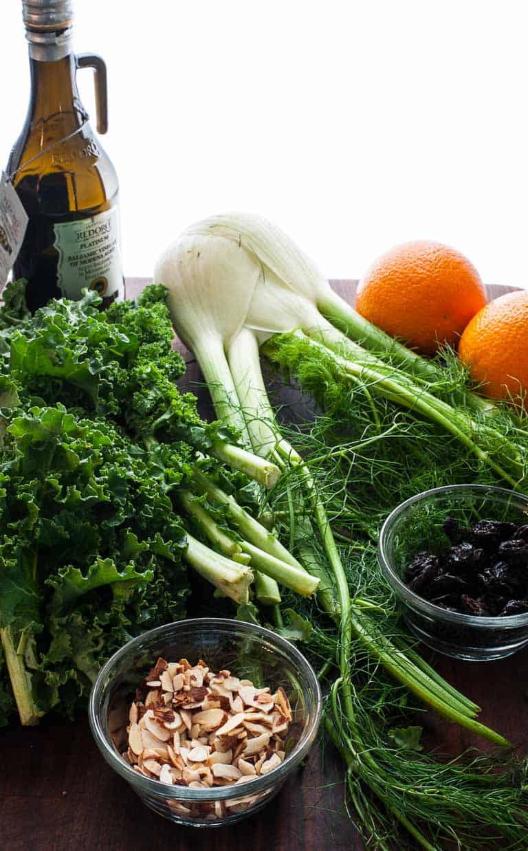 Kale, fennel, oranges, dried cherries, and slivered almonds