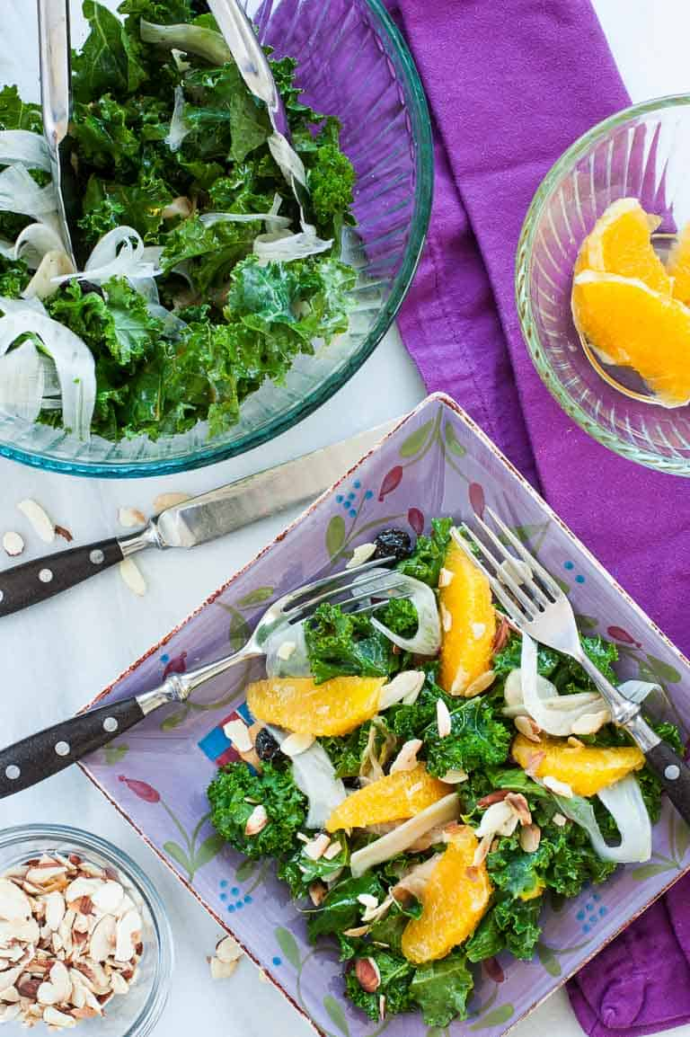 Kale fennel salad with an orange and balsamic dressing