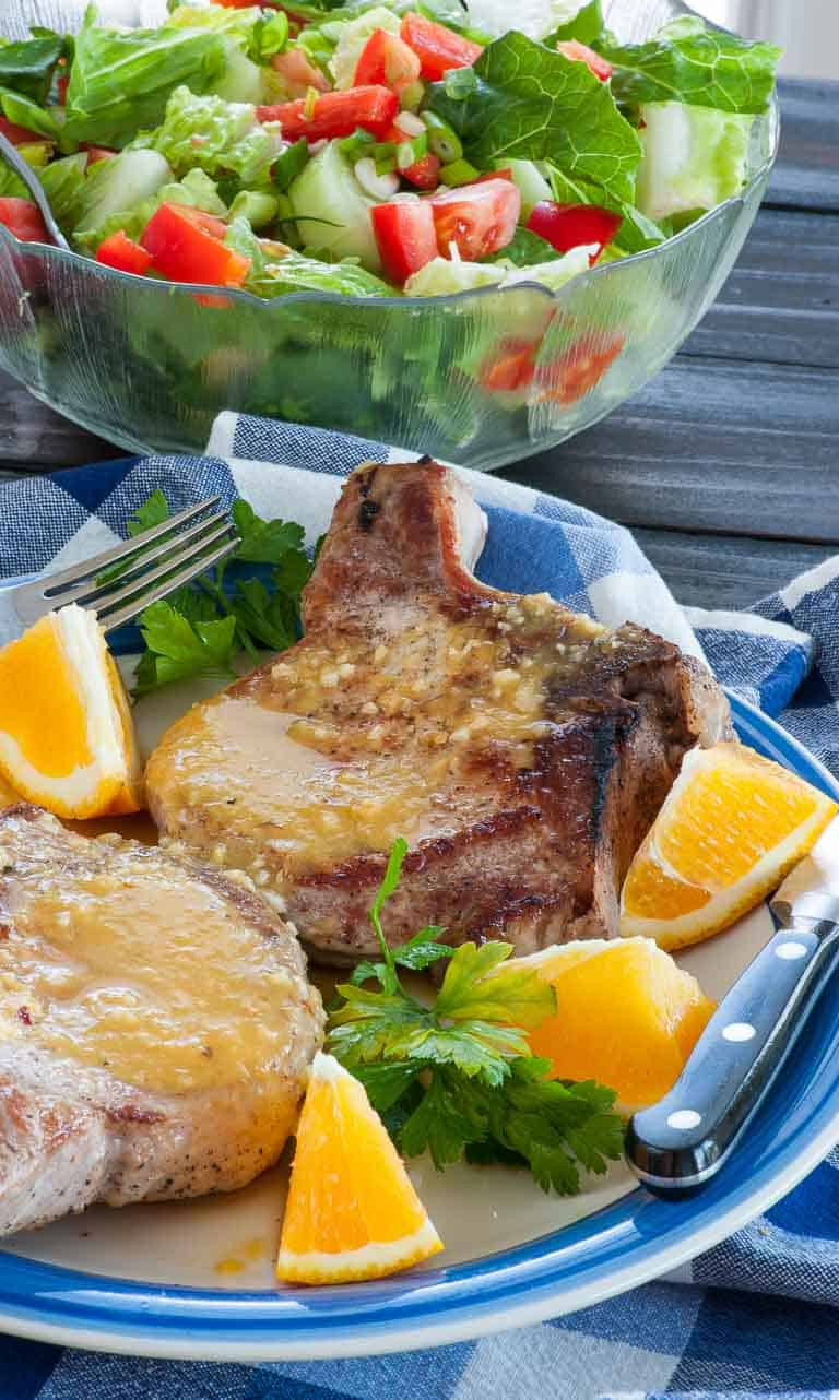 Orange sauce on pan fried pork chops. Mix this fast and easy orange glaze and have pork chops in 15 minutes.   joeshealthymeals.com