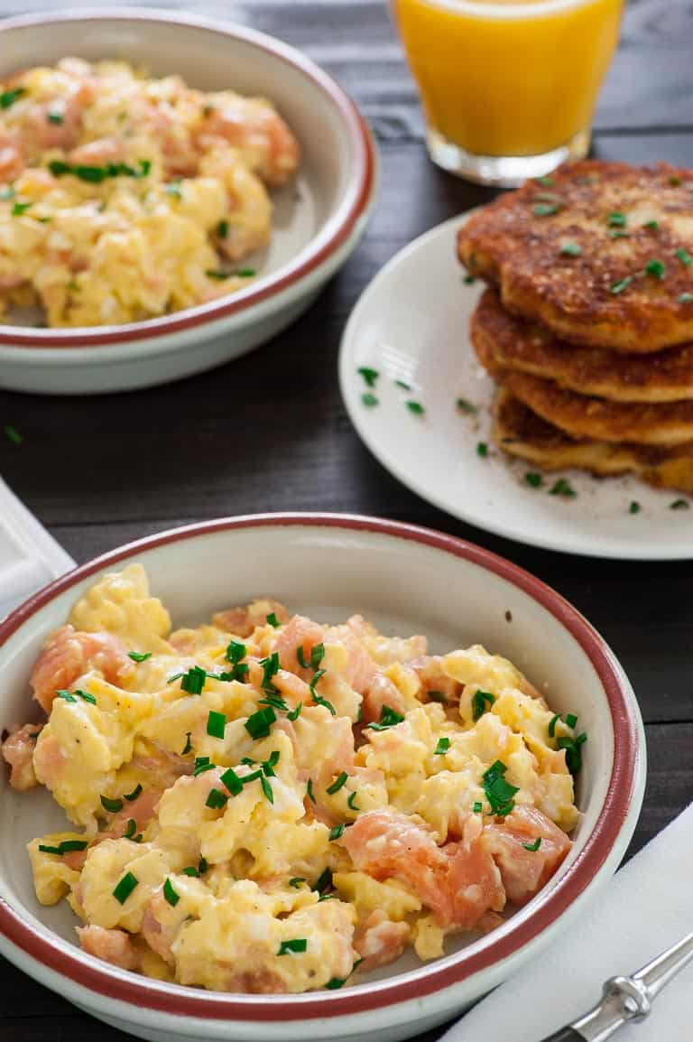Scrambled eggs with smoked salmon. Tasty for breakfast, lunch, or dinner. | joeshealthymeals.com