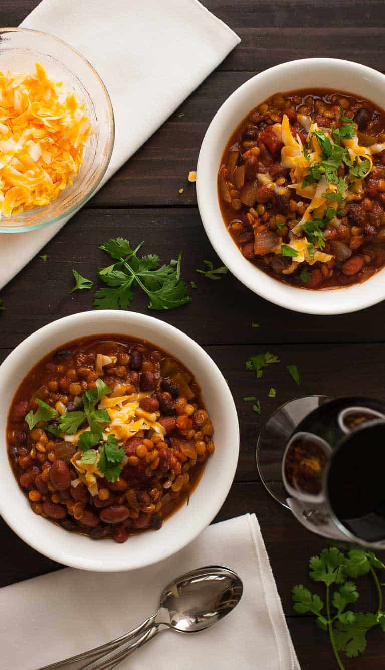 Stovetop chili recipe made with lentils that is meatless and tastes fantastic. | joeshealthymeals.com