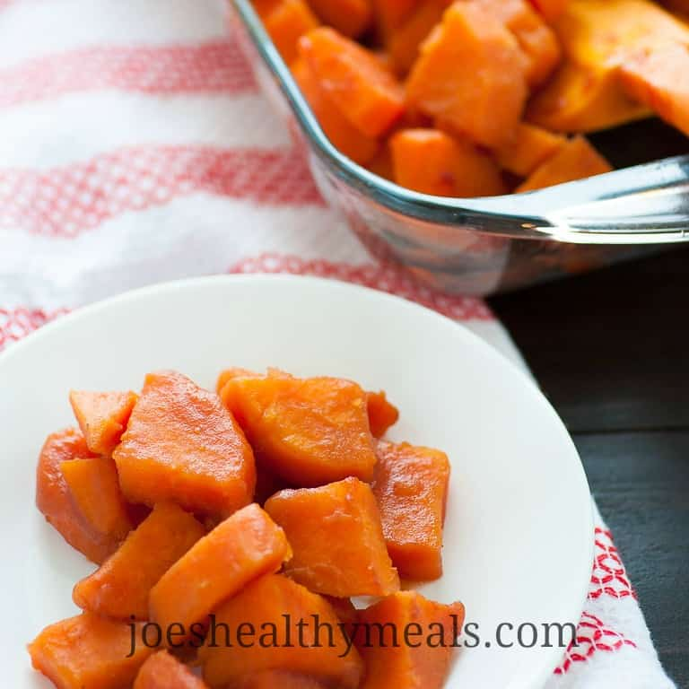 Cranberry-orange glazed sweet potatoes are a perfect sweet and tangy side dish for Thanksgiving. | joeshealthymeals.com