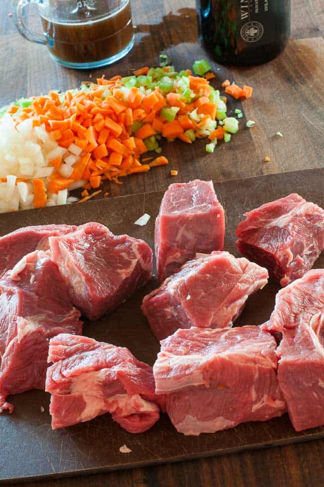 Beef chuck cubes for beef ragout