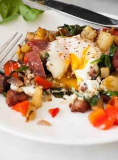 Breakfast hash with bacon and salami. | joeshealthymeals.com