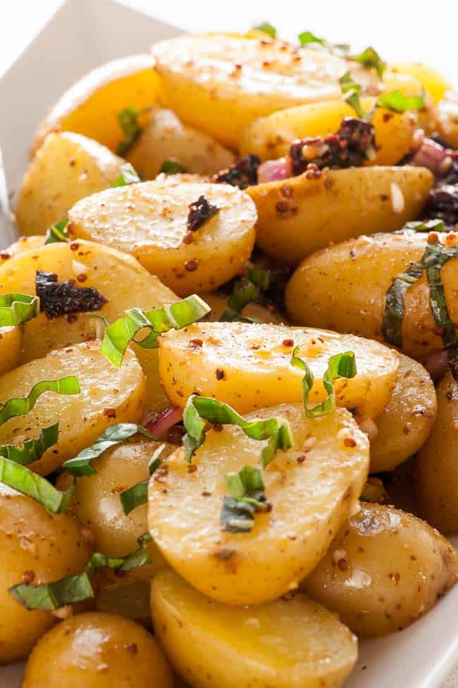 Pressure cooker warm potato salad. Perfect with just about any meal. | joeshealthymeals.com