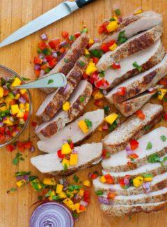 Healthy pork tenderloin steaks with spicy salsa.   joeshealthymeals.com