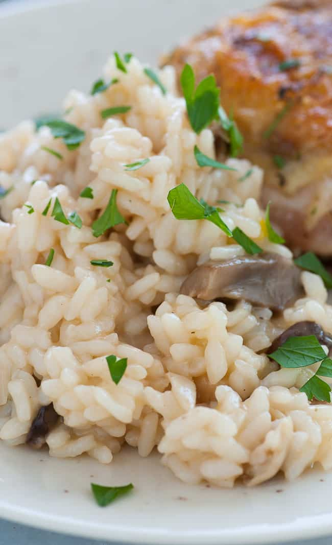 Close-up of pressure cooker mushroom risotto. | joeshealthymeals.com