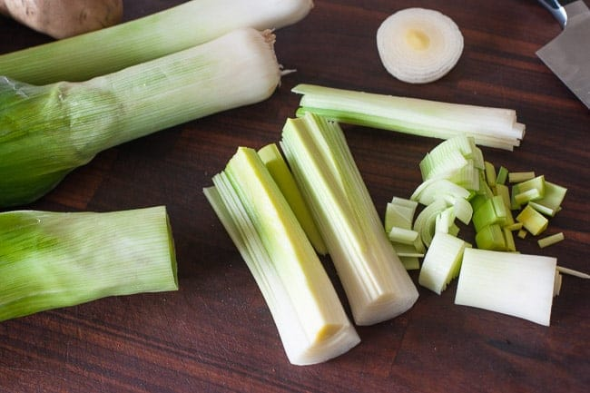 Chopping leeks