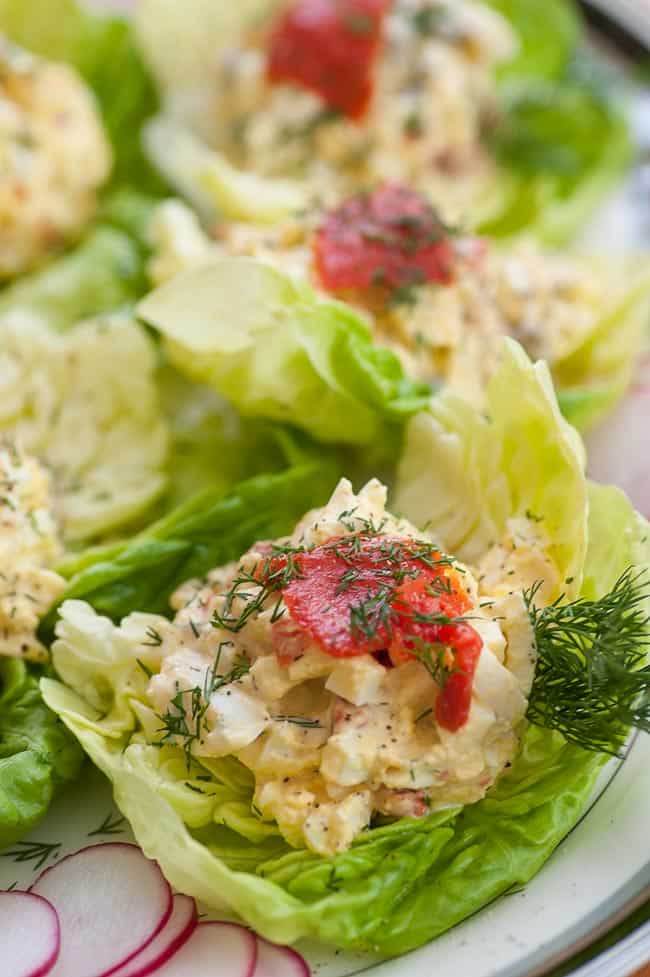 Ready to eat Smoked salmon egg salad lettuce wrap. | joeshealthymeals.com