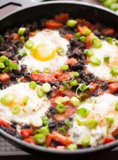 Easy black beans rancheros with fried egg is a perfect breakfast.   joeshealthymeals.com