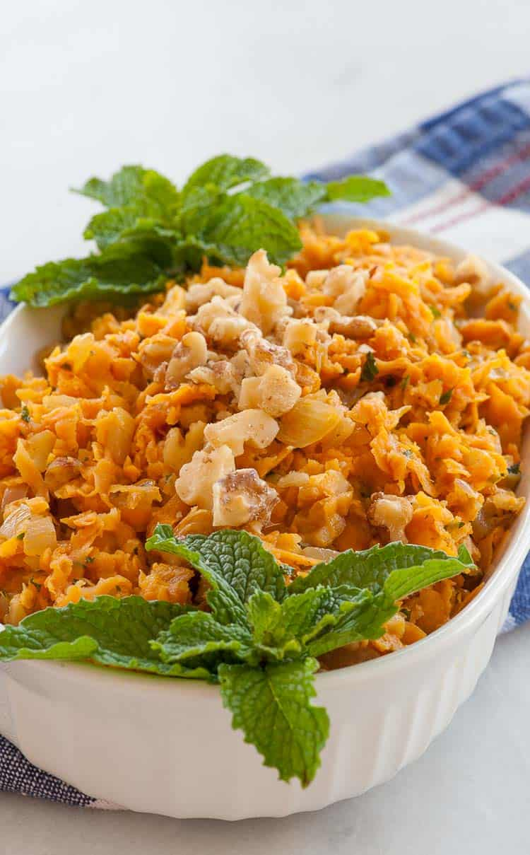 Sauteed sweet potatoes, with onions, walnuts, mint, and smoked paprika. | joeshealthymeals.com