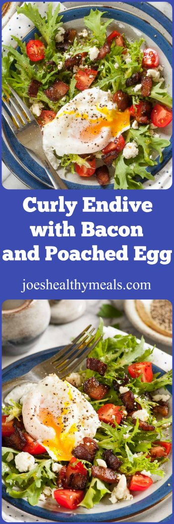 Curly endive lettuce salad with bacon and poached egg. | joeshealthymeals.com