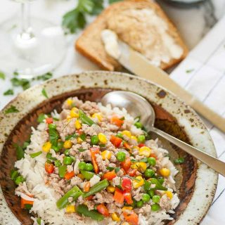 Ground pork gravy with mixed vegetables on rice. | joeshealthymeals.com
