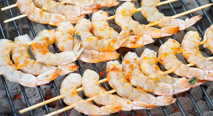 Grilled shrimp kabobs with orange glaze. on the grill.. | joeshealthymeals.com