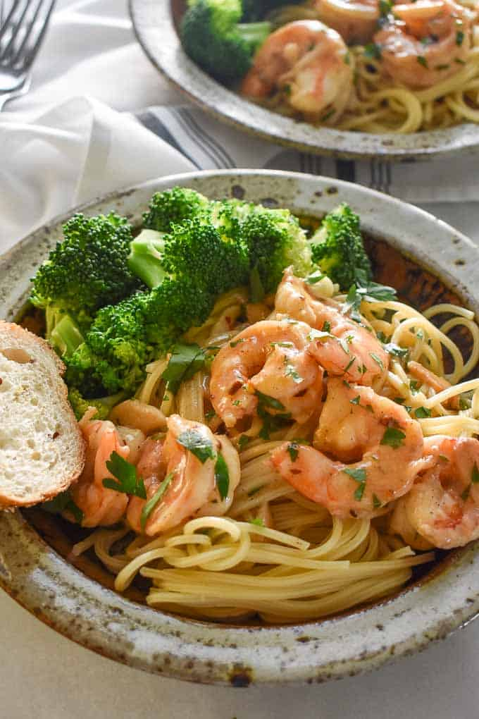 Perfect creamy shrimp scampi with sweet shrimp flavor and a hint of red pepper flake heat.