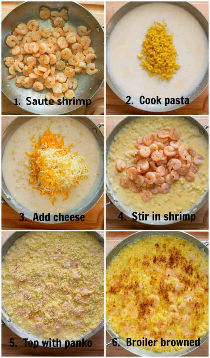 Collage of step by step process to make shrimp mac and cheese.