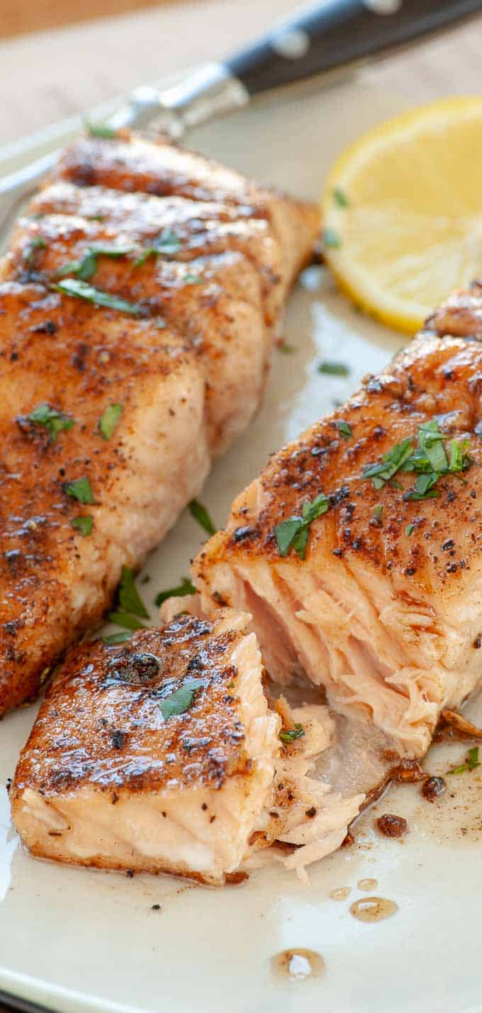 Seared salmon recipe with browned butter, garlic and honey.