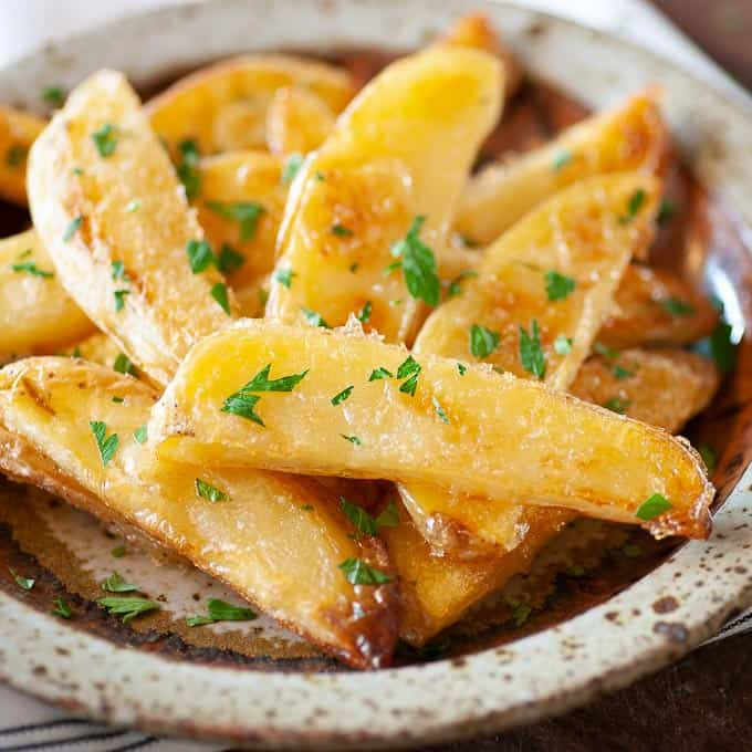 Crispy oven fries...crunchy on the outside and silky on the inside.
