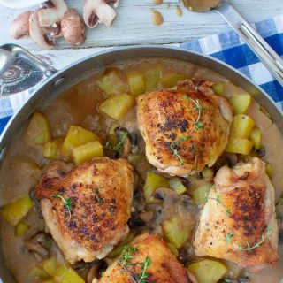 One pot chicken thighs with potatoes and gravy. Perfect, easy chicken dinner.