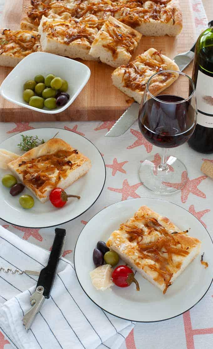 Potato focaccia bread with caramelized onions and Pecorino romano cheese.