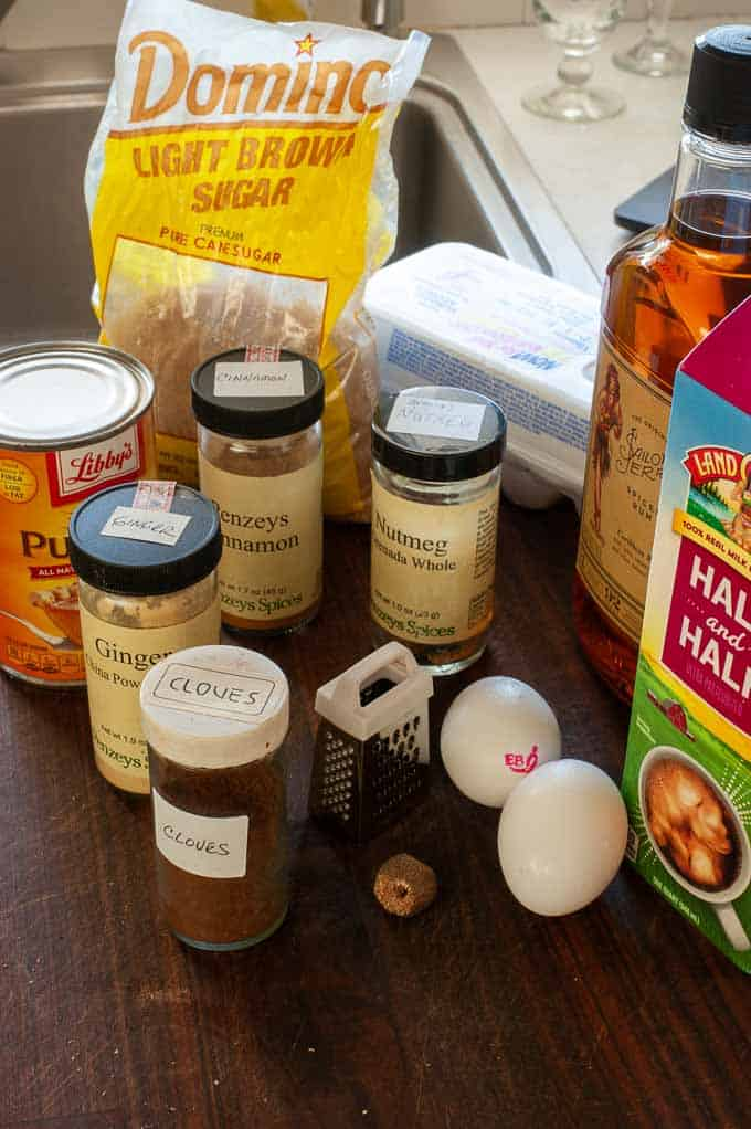 Ingredients that go into pumpkin bread pudding.