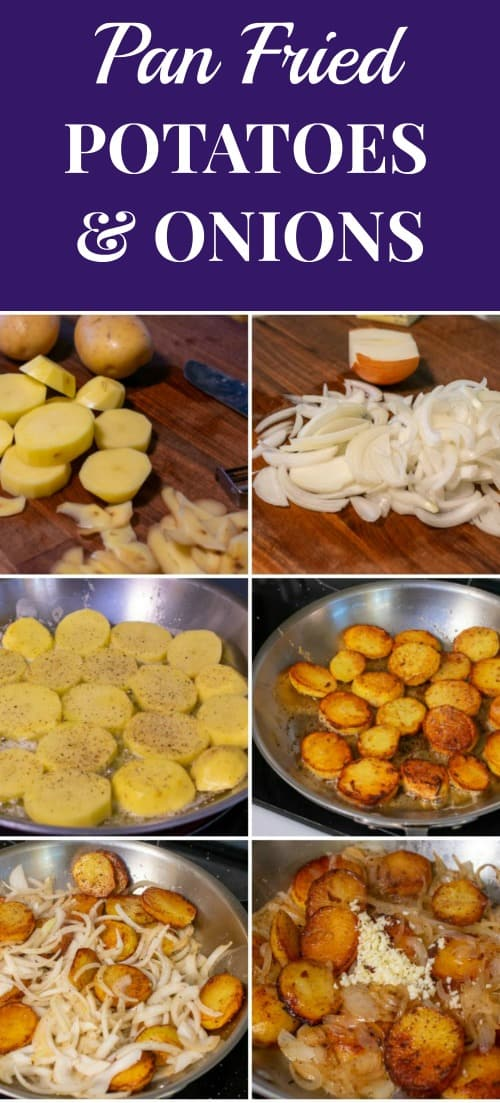 Collage of steps to make pan fried potatoes and onions.