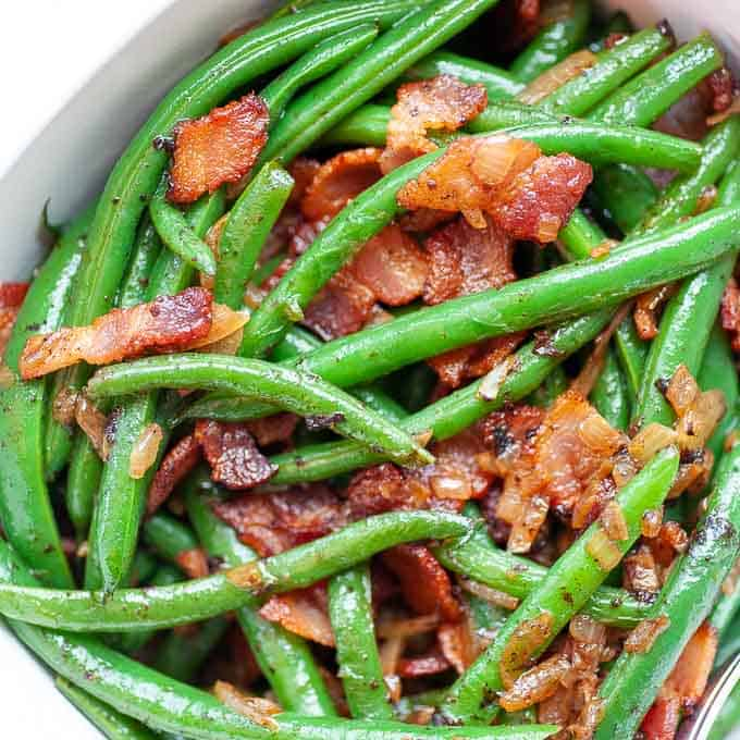 close up of green beans and bacon side dish