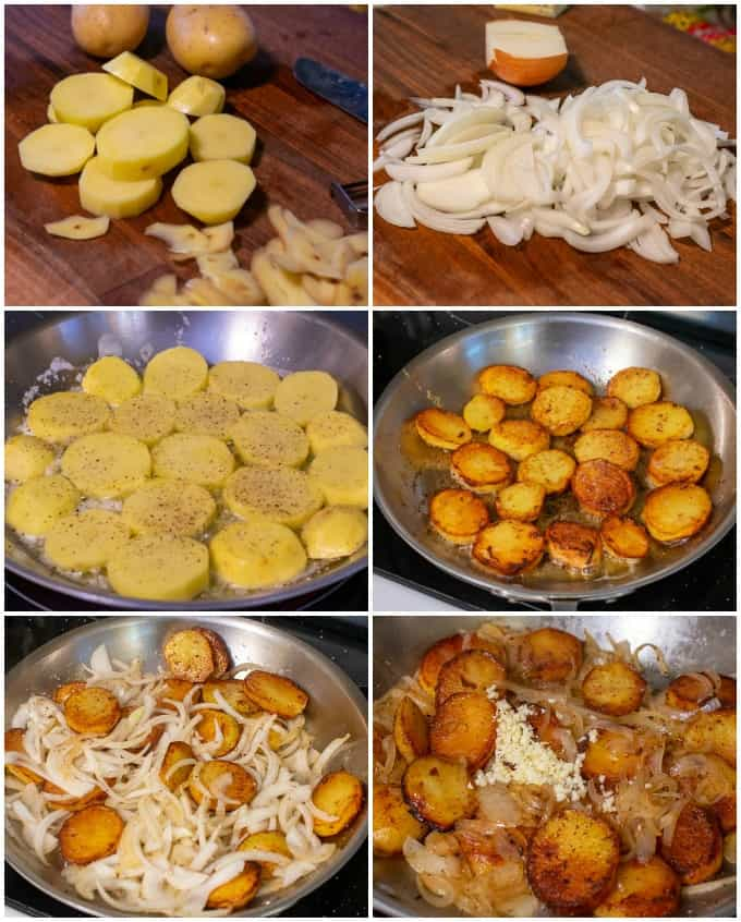 collage of steps to make Lyonnaise potatoes