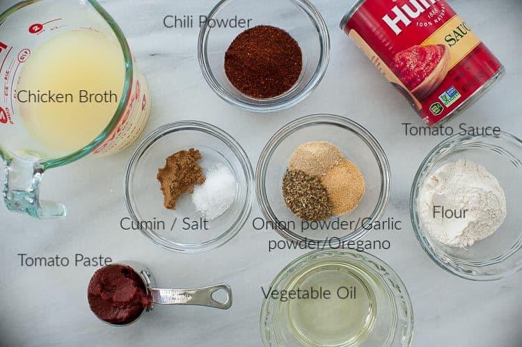 Enchilada sauce ingredients.