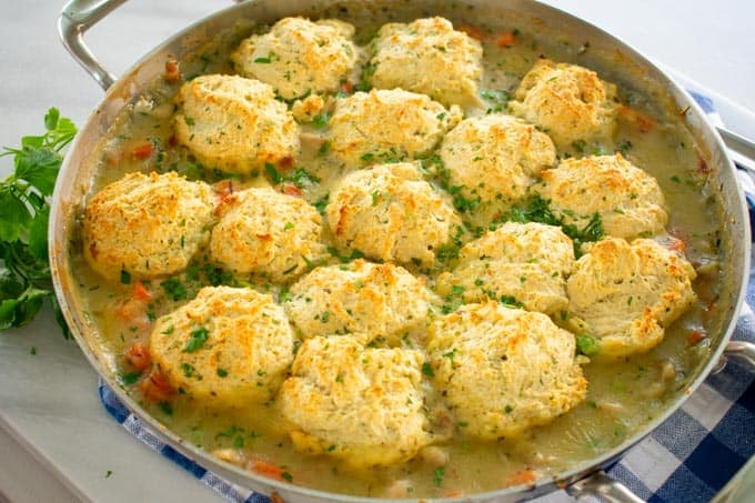 Baked casserole dish of chicken and drop biscuits.