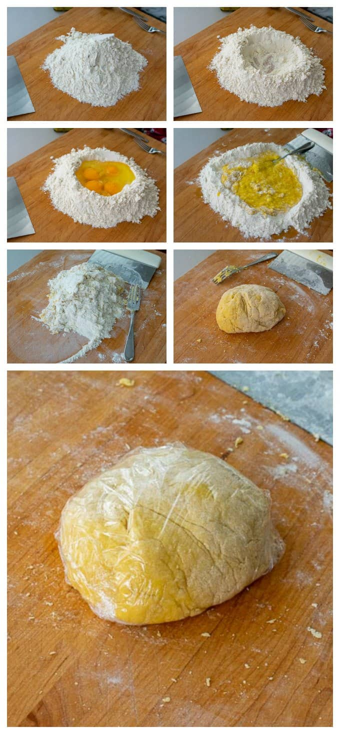 Mixing pasta dough by hand on a cutting board.