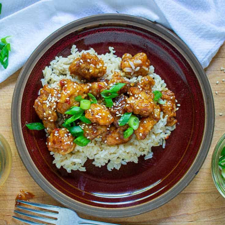 Chicken on a bed of rice on a plate.