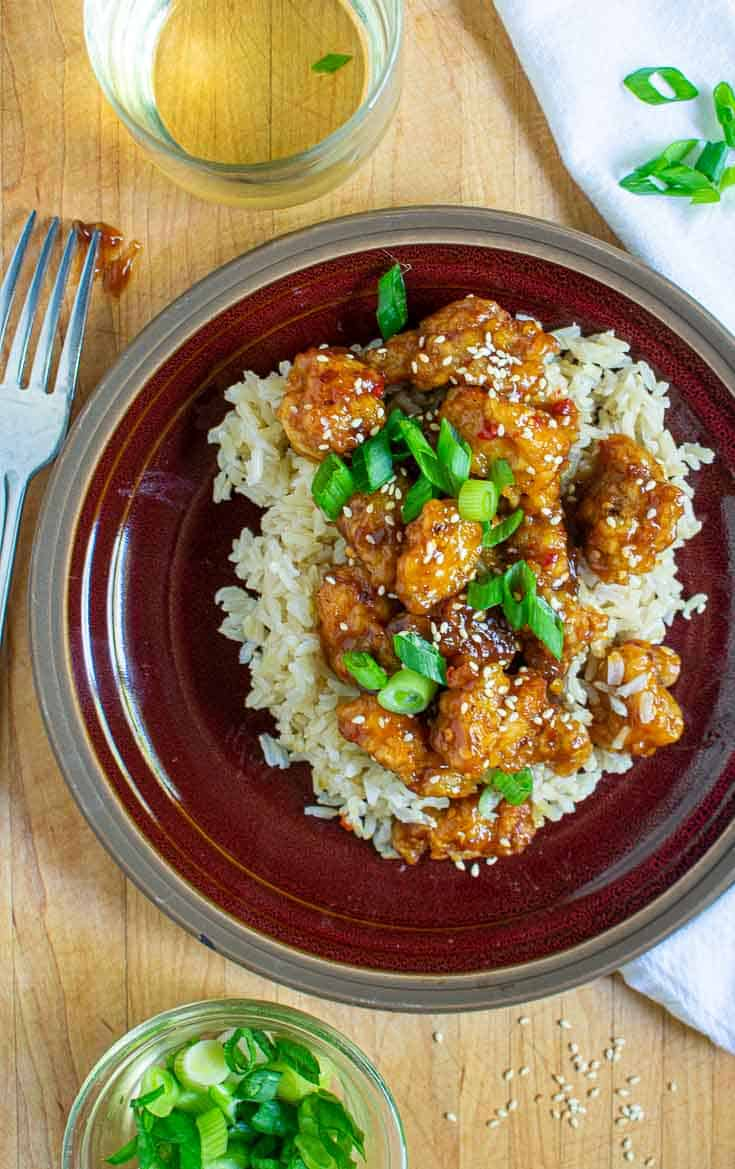General Tso chicken on a plate.