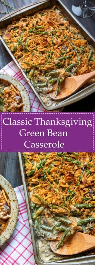 pinterest collage of classic green bean casserole