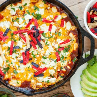 chicken enchilada in a skillet