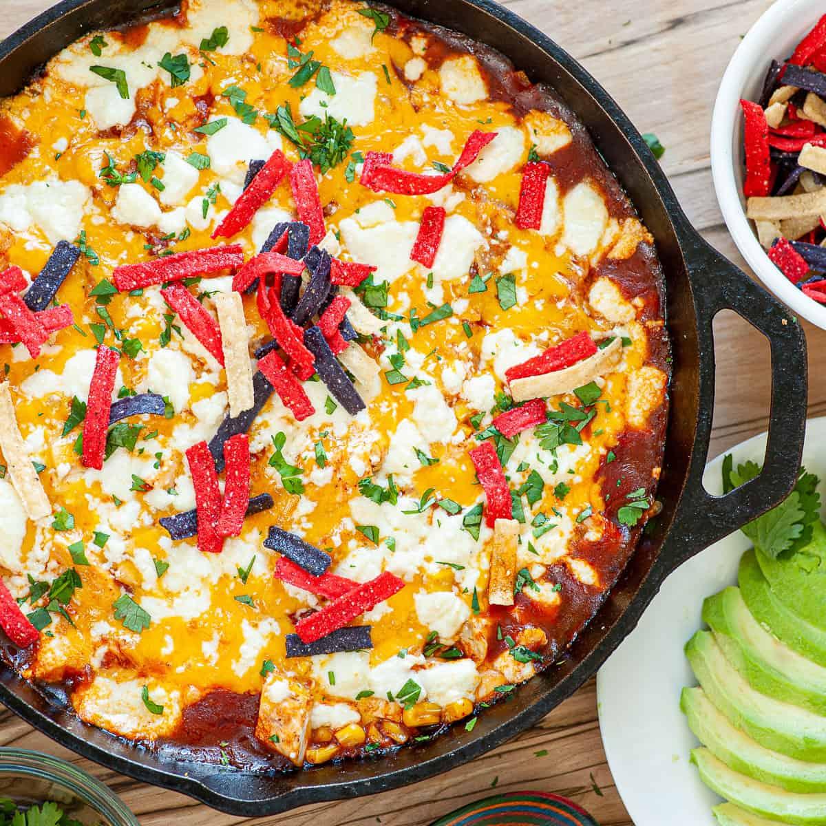 chicken enchilada in a skillet