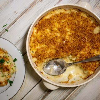 overhead view of cauliflower gratin in casserole dish