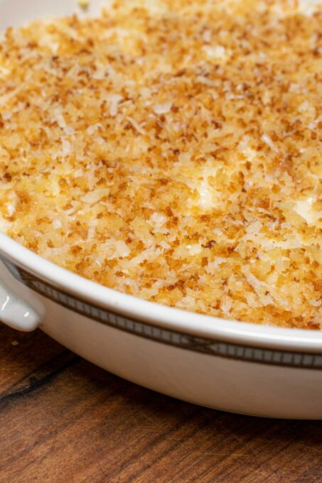 close-up of cauliflower gratin ready for the oven