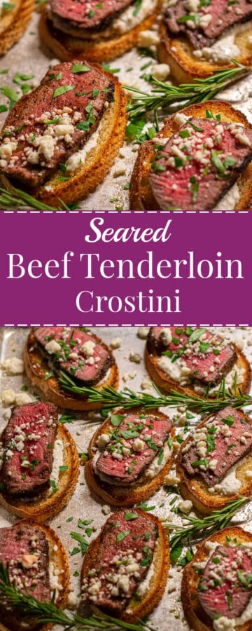 beef tenderloin crostini collage