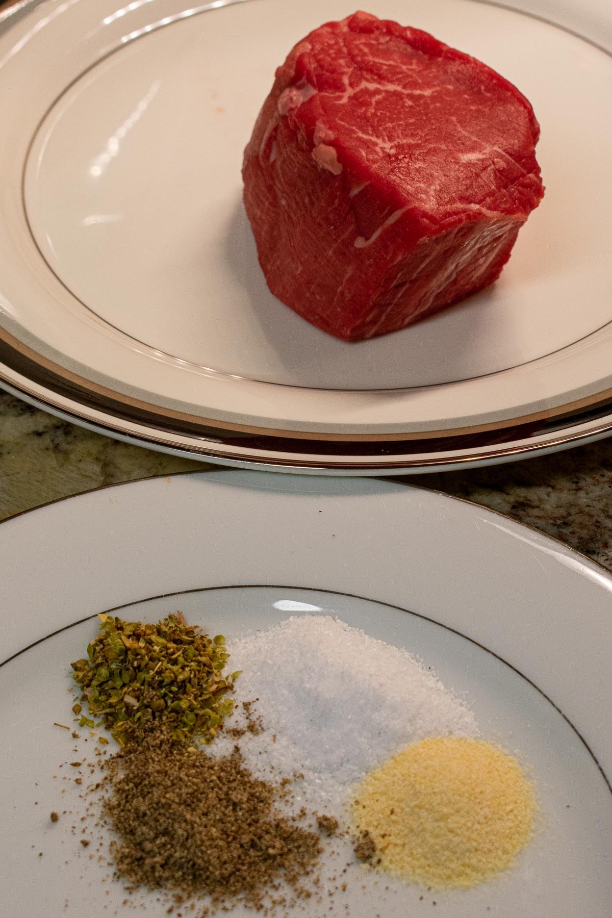beef tenderloin on a plate