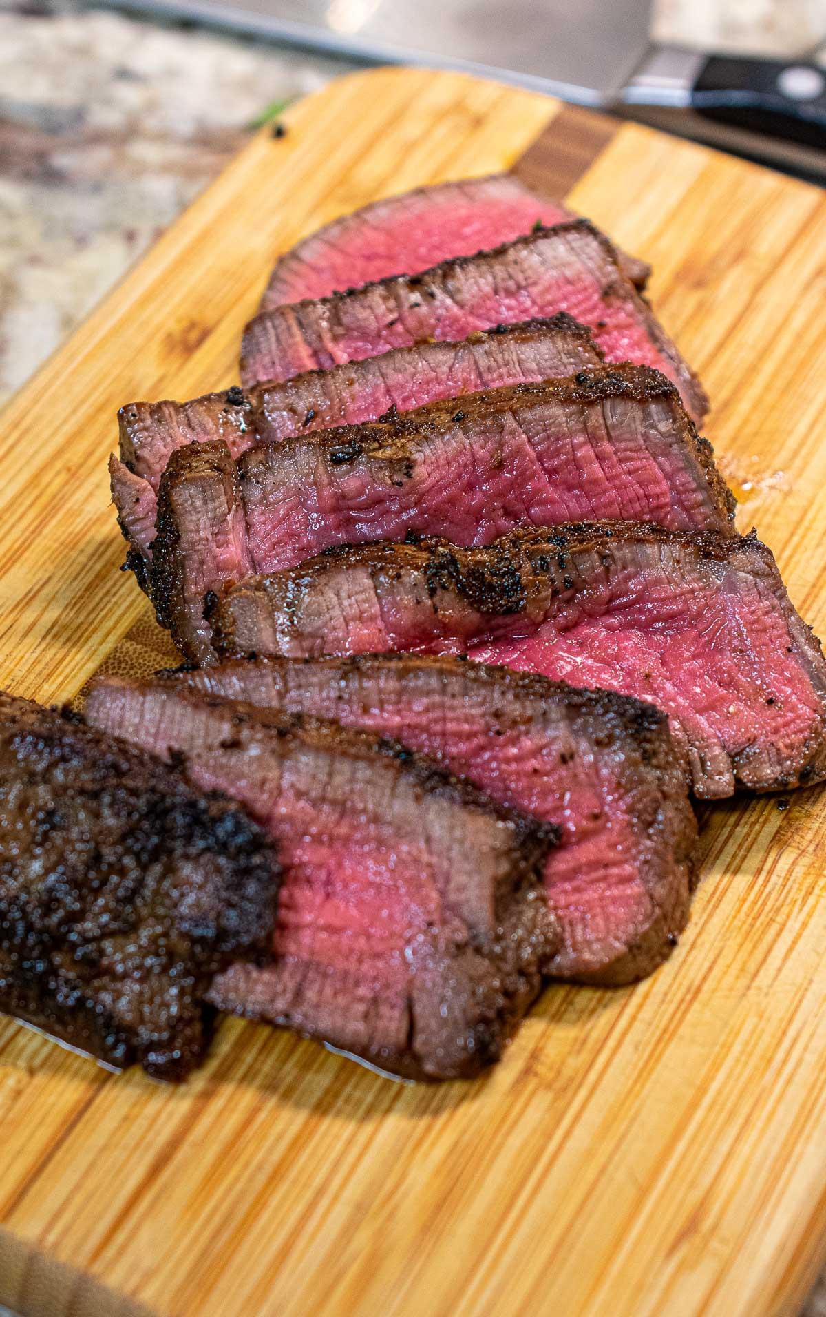 sliced medium rare filet