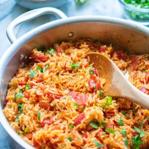 Mexican rice in a skillet ready to serve.