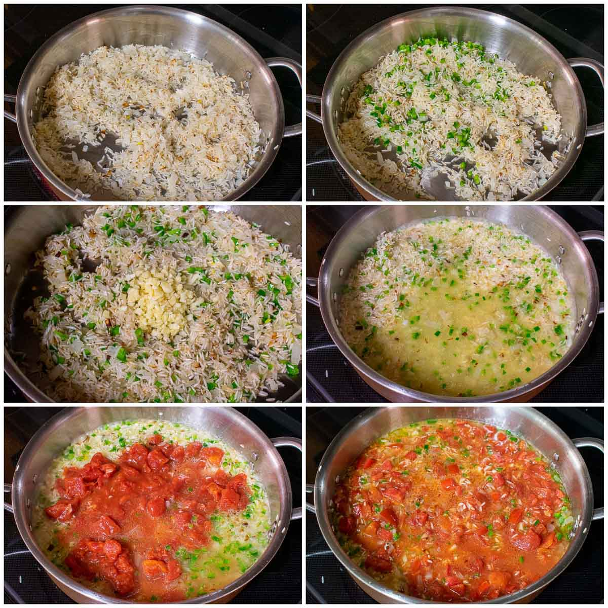 Collage of 6 pictures of cooking steps for Mexican rice.