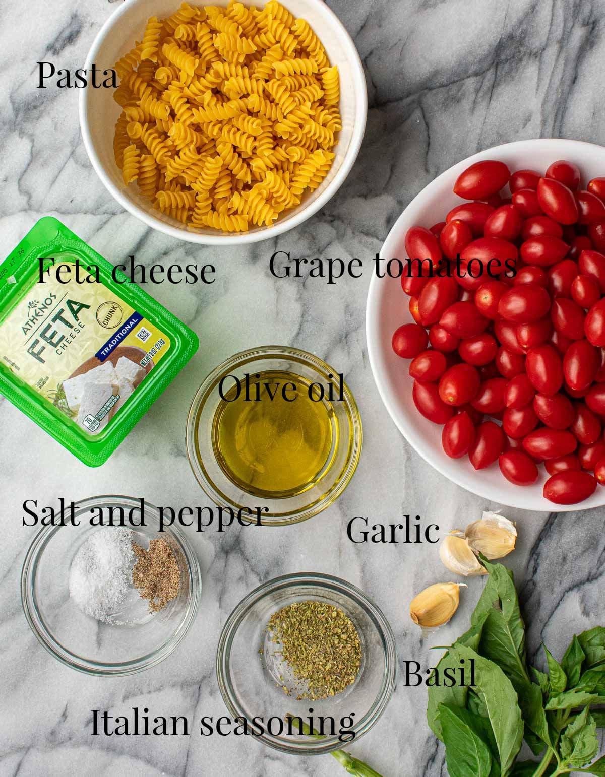 Baked feta ingredients.