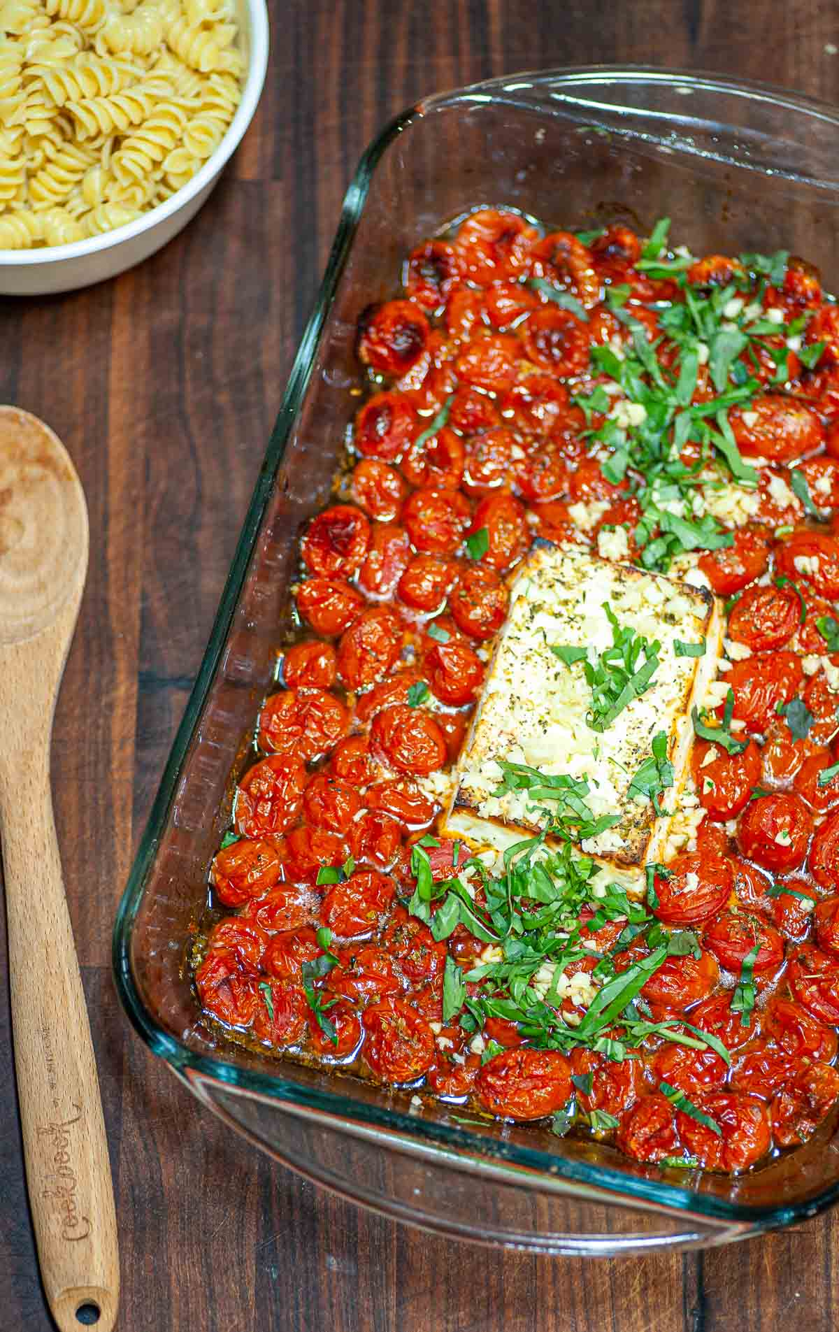 Baked feta and tomatoes right from the oven.